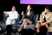 "(L-R) Melissa Barrera, Mishel Prada and Ser Anzoategui speak onstage at SCAD aTVfest 2020 - ""VIDA"" on February 28, 2020 in Atlanta, Georgia."