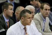 Head coach Billy Donovan of the Florida Gators looks on in the second half against the Kentucky Wildcats during the Championship game of the 2014 Men's SEC Basketball Tournament at Georgia Dome on March 16, 2014 in Atlanta, Georgia.