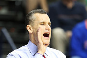 Head coach Billy Donovan of the Florida Gators yells to his team in the second half against the Ole Miss Rebels during the SEC Basketball Tournament Championship game at Bridgestone Arena on March 17, 2013 in Nashville, Tennessee.