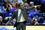 Avery Johnson the head coach of the Alabama Crimson Tide gives instructions to his team against the South Carolina Gamecocks during the quarterfinals of the SEC Basketball Tournament at Bridgestone Arena on March 10, 2017 in Nashville, Tennessee.