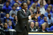 Avery Johnson the head coach of the Alabama Crimson Tide gives instructions to his team against the Kentucky Wildcats during the semifinals of the SEC Basketball Tournament at Bridgestone Arena on March 11, 2017 in Nashville, Tennessee.
