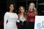 (L-R) Models Tabria Majors, Haley Kalil and Olivia Jordan attend the SI Swimsuit 2018 Model Search celebration and preview of the Sports Illustrated Swim and Active Collection at Mr. Purple in Hotel Indigo LES November 1, 2017 in New York City.