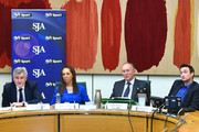 (L-R) Clive Efford MP, Helen Grant MP, SJA Chairman David Walker and John Leech MP answer questions during the SJA Sporting Question Time at Houses of Parliament on February 23, 2015 in London, England.