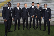 The SS Lazio players Quissanga Bastos, Felipe Luiz, Lucas Leiva, Fortuna Wallace, Joaquin Correa and Luis Alberto pose during the official team photo backstage on September 18, 2018 in Rome, Italy.
