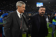 Quique Setien FC Barcelona coach greets Gennaro Gattuso SSC Napoli coach before the UEFA Champions League round of 16 first leg match between SSC Napoli and FC Barcelona at Stadio San Paolo on February 25, 2020 in Naples, Italy.