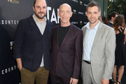 """(L-R) Executive producer Jordan Horowitz, actor J. K. Simmons and Creator/writer/executive producer Justin Marks of """"Counterpart"""" attend the STARZ """"Counterpart"""" & """"Howards End"""" FYC Event at LACMA on May 23, 2018 in Los Angeles, California."""