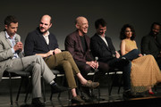 """(L-R) Creator/writer/executive producer Justin Marks, Executive producer Jordan Horowitz, actors J. K. Simmons, Harry Lloyd, Nazanin Boniadi and Nicholas Pinnock speak onstage during the STARZ """"Counterpart"""" & """"Howards End"""" FYC Event at LACMA on May 23, 2018 in Los Angeles, California."""