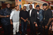 """(L-R) Big K.R.I.T., Ludacris, F. Gary Gray, Kasim Reed, Will Packer, and Usher Raymond attend """"Straight Outta Compton"""" VIP screening with director/producer F. Gary Gray, producer Ice Cube, executive producer Will Packer and cast members at Regal Atlantic Station on July 24, 2015 in Atlanta, Georgia."""