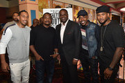 """(L-R) Rapper Ludacris, director F. Gary Gray, Atlanta mayor Kasim Reed, producer Will Packer, and recording artist Usher Raymond attend """"Straight Outta Compton"""" VIP screening with director/producer F. Gary Gray, producer Ice Cube, executive producer Will Packer and cast members at Regal Atlantic Station on July 24, 2015 in Atlanta, Georgia."""