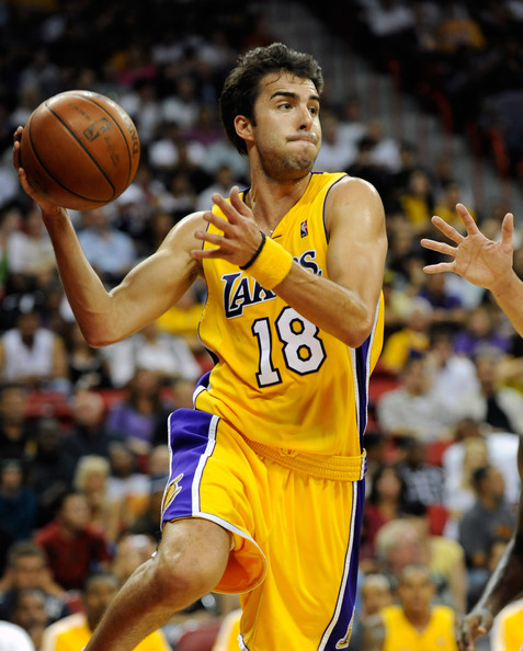 Sasha Vujacic Sasha Vujacic #18 of the Los Angeles Lakers looks to pass against the Sacramento Kings during their preseason game at the Thomas & Mack Center October 15, 2009 in Las Vegas, Nevada. NOTE TO USER: User expressly acknowledges and agrees that, by downloading and/or using this Photograph, user is consenting to the terms and conditions of the Getty Images License Agreement.