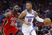 Frank Mason III #10 of the Sacramento Kings drives against E'Twaun Moore #55 of the New Orleans Pelicans during the second half at the Smoothie King Center on October 19, 2018 in New Orleans, Louisiana. NOTE TO USER: User expressly acknowledges and agrees that, by downloading and or using this photograph, User is consenting to the terms and conditions of the Getty Images License Agreement.