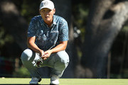 Danny Lee of New Zealand lines up a putt on the 13th hole during the final round of the Safeway Open at the North Course of the Silverado Resort and Spa on October 7, 2018 in Napa, California.