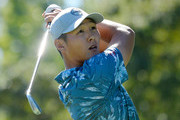 Danny Lee of New Zealand plays his shot from the 14th tee during the final round of the Safeway Open at the North Course of the Silverado Resort and Spa on October 7, 2018 in Napa, California.