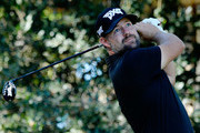 Ryan Moore plays his shot from the eighth tee during the third round of the Safeway Open at the North Course of the Silverado Resort and Spaon October 6, 2018 in Napa, California.