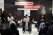 Roopal Patel, Sandra Choi and Leandra Medine speak on stage at the Saks Fearless Women Speaker Series with Leandra Medine and Sandra Choi on October 16, 2018 in New York City.