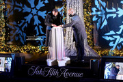 Alex Rodriguez and President & CEO at Saks Fifth Avenue Marc Metrick speak during the Saks Fifth Avenue Holiday Window Unveiling 2020 on November 23, 2020 in New York City.