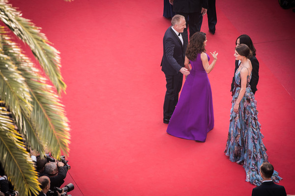'Rocco and His Brothers' Premiere - The 68th Annual Cannes Film Festival [rocco and his brothers premiere - the 68th annual cannes film festival,image,fashion,formal wear,event,carpet,dress,fashion design,haute couture,red carpet,fun,gown,salma hayek pinault,francois-henri pinault,charlotte casiraghi,alessandro michele,filters,cannes,premiere,cannes film festival]