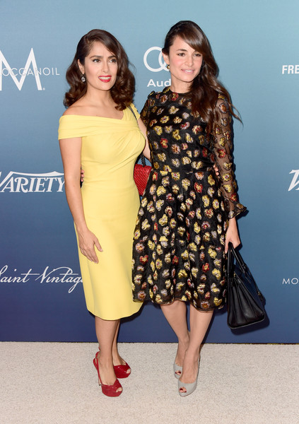 Variety's Power of Women Luncheon [clothing,dress,fashion model,yellow,cocktail dress,fashion,premiere,hairstyle,footwear,carpet,actresses,salma hayek pinault,mia maestro,power of women luncheon,variety,beverly hills,california,beverly wilshire four seasons hotel,l]