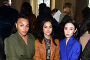 Paloma Elsesser, Camila Mendes and Olivia Sui attend the Salvatore Ferragamo show during during Milan Fashion Week Fall/Winter 2020/2021 on February 22, 2020 in Milan, Italy.