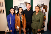 Olivia Sui, Camila Mendes, designer Paul Andrew and Paloma Elsesser attend the Salvatore Ferragamo show during during Milan Fashion Week Fall/Winter 2020/2021 on February 22, 2020 in Milan, Italy.