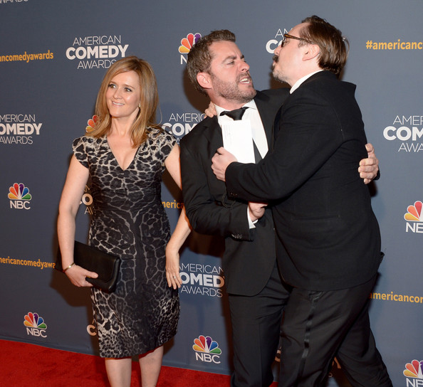 2014 American Comedy Awards - Arrivals [carpet,red carpet,event,premiere,flooring,dress,little black dress,award ceremony,formal wear,arrivals,samantha bee,jason jones,john hodgman,american comedy awards,l-r,new york city,hammerstein ballroom,2014 american comedy awards]