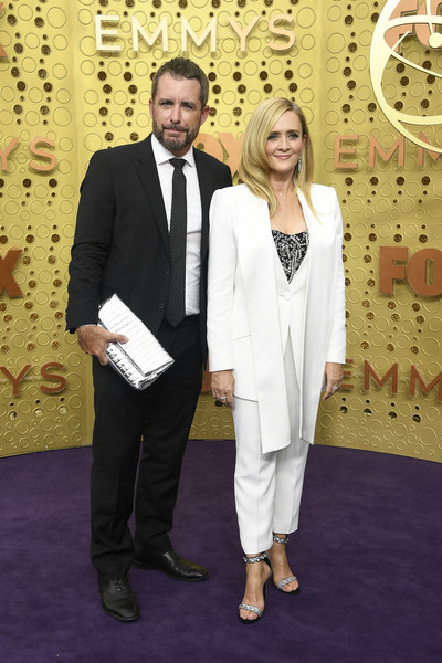 71st Emmy Awards - Arrivals [suit,tuxedo,formal wear,carpet,event,red carpet,flooring,pantsuit,arrivals,samantha bee,jason jones,emmy awards,l-r,microsoft theater,los angeles,california]