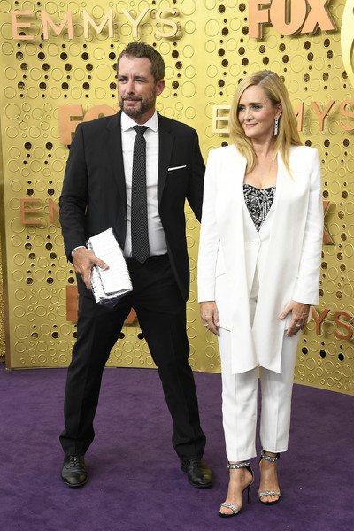 71st Emmy Awards - Arrivals [suit,formal wear,tuxedo,carpet,red carpet,event,flooring,pantsuit,arrivals,samantha bee,jason jones,emmy awards,l-r,microsoft theater,los angeles,california]