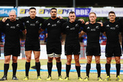 (L-R) Tony Woodcock, Sonny Bill Williams, Jerome Kaino, Israel Dagg, Andy Ellis and Daniel Carter sing the national anthem prior to the International Test match between Samoa and the New Zealand All Blacks at Apia Stadium on July 8, 2015 in Apia, Samoa.