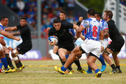 Sonny Bill Williams of the New Zealand All Blacks attacks during the International Test match between Samoa and the New Zealand All Blacks at Apia Stadium on July 8, 2015 in Apia, Samoa.