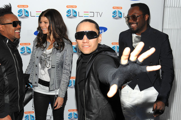 (L to R) Apl.de.Ap, Fergie, Taboo, and Will.i.am attend the Samsung 3D LED TV launch party with THE BLACK EYED PEAS at Time Warner Center on March 10, 2010 in New York City.