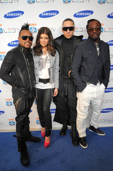 (L-R) Apl.de.Ap, Fergie, Taboo and Will.i.am of the Black Eyed Peas attends the Samsung 3D LED TV launch party with THE BLACK EYED PEAS at Time Warner Center on March 10, 2010 in New York City.