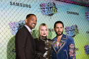 """(L-R) Actors Will Smith, Margot Robbie, and Jared Leto celebrate the Premiere of """"Suicide Squad"""" with Samsung at Beacon Theatre on July 28, 2016 in New York, New York."""