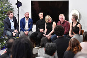 (L-R) Forbes's Alex Konrad, SamsungÕs Tom Harding, Actor Theo Rossi, LÕOrealÕs Rachel Weiss, Oculus's Andy Mathis, and AirbnbÕs Wren Dougherty speak at the Samsung Gear VR 2nd Anniversary Panel on December 11, 2017 in New York City.