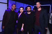 (L-R) Victor Cruz, Sophia Bush,Oscar Isaac and Pablo Schreiber attend the Samsung Galaxy S 6 edge launch in New York City on April 7, 2015 in New York City.