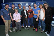 (L-R) Coldplay Manager Dave Holmes, GRAMMY Awards Producer Ken Ehrlich, GRAMMY Foundation Vice President Dana Tomarken, musicians Will Champion, Jonny Buckland, President/CEO of The Recording Academy and The GRAMMY Foundation Neil Portnow, musicians Guy Berryman, Chris Martin, GRAMMY Foundation Senior Vice President Kristen Madsen and GRAMMY Foundation Vice President Scott Goldman attend Coldplay in Concert presented by Samsung AT&T Summer Krush 2011 benefitting the GRAMMY Foundation and its music education programs for high school students and schools. More info at grammyintheschools.com. Held at UCLA Tennis Center on August 3, 2011 in Westwood, California.