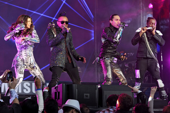 Fergie, Apl.de.Ap, Taboo and Will.i.am of the Black Eyed Peas perform at the Samsung Times Square Concert with THE BLACK EYED PEAS at Times Square on March 10, 2010 in New York City.