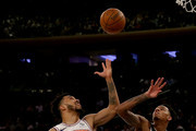Courtney Lee #5 of the New York Knicks and Dejounte Murray #5 of the San Antonio Spurs fight for the rebound in the second half at Madison Square Garden on January 02, 2018 in New York City. NOTE TO USER: User expressly acknowledges and agrees that, by downloading and or using this photograph, User is consenting to the terms and conditions of the Getty Images License Agreement.