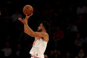 Courtney Lee #5 of the New York Knicks shoots a three point shot in the second half against the San Antonio Spurs at Madison Square Garden on January 02, 2018 in New York City. NOTE TO USER: User expressly acknowledges and agrees that, by downloading and or using this photograph, User is consenting to the terms and conditions of the Getty Images License Agreement.