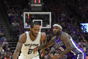 Kawhi Leonard #2 of the San Antonio Spurs dribbles the ball while guarded by Ty Lawson #10 of the Sacramento Kings during the fourth quarter of an NBA basketball game at Golden 1 Center on October 27, 2016 in Sacramento, California. NOTE TO USER: User expressly acknowledges and agrees that, by downloading and or using this photograph, User is consenting to the terms and conditions of the Getty Images License Agreement.