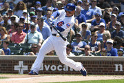 Anthony Rizzo #44 of the Chicago Cubs hits a two-run home run against the San Diego Padres during the second inning on August 4, 2018 at Wrigley Field  in Chicago, Illinois.