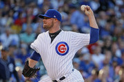 Starting pitcher Jon Lester #34 of the Chicago Cubs delivers the ball against the San Diego Padres at Wrigley Field on June 19, 2017 in Chicago, Illinois.