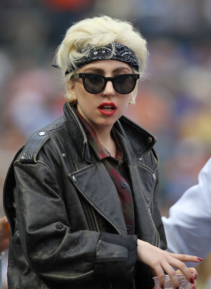 Singer Lady Gaga at the game between the San Diego Padres and the New York Mets at Citi Field on June 10, 2010 in the Flushing neighborhood of the Queens borough of New York City.