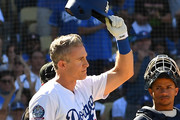 Chase Utley #26 of the Los Angeles Dodgers tips his hat to the crowd as he got a standing ovation when he came up to bat in the sixth inning of the game against the San Diego Padres at Dodger Stadium on September 23, 2018 in Los Angeles, California.