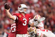 Quarterback Carson Palmer #3 of the Arizona Cardinals throws a pass during the NFL game against the San Francisco 49ers at the University of Phoenix Stadium on October 1, 2017 in Glendale, Arizona.The Cardinals defeated the 49ers in overtime 18-12.
