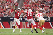 Quarterback Carson Palmer #3 of the Arizona Cardinals throws a pass during the second half of the NFL game against the San Francisco 49ers at the University of Phoenix Stadium on October 1, 2017 in Glendale, Arizona.