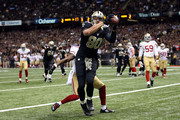 Jimmy Graham #80 of the New Orleans Saints catches a touchdown pass in front of Perrish Cox #20 of the San Francisco 49ers during the fourth quarter of a game at the Mercedes-Benz Superdome on November 9, 2014 in New Orleans, Louisiana.