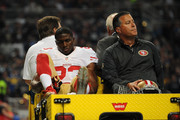 Reggie Bush #23 of the San Francisco 49ers is carted off the field after being injured in the second quarter  against the St. Louis Rams at the Edward Jones Dome on November 1, 2015 in St. Louis, Missouri.
