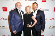 (L-R) Tim Seelig, Kristin Chenoweth, and Chris Verdugo arrive at The San Francisco Gay Men's Chorus' 41st Season Crescendo Gala Fundraiser at The Fairmont on April 27, 2019 in San Francisco, California.