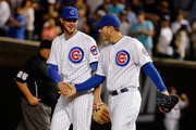 Kris Bryant #17 of the Chicago Cubs (L) and Anthony Rizzo #44 of the Chicago Cubs shake hands after their win over the San Francisco Giants at Wrigley Field on August 6, 2015 in Chicago, Illinois. The Chicago Cubs won 5-4.