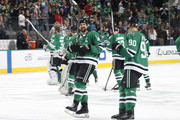 Jamie Benn #14 and the Dallas Stars wave to fans after a win against the San Jose Sharks at the American Airlines Center on December 31, 2017 in Dallas, Texas.